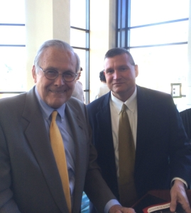 Kelly Landers with Donald Rumsfeld