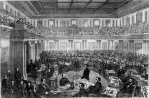 Andrew Johnson's impeachment trial in 1868.