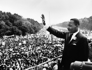 Martin Luther King Jr. addresses a crowd from the steps of the Lincoln Memorial in Washington, D.C.