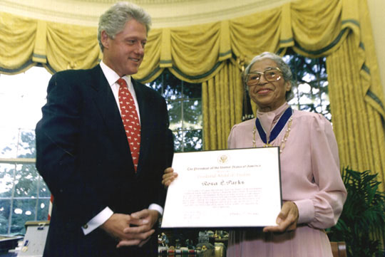 Rosa Parks with former US President Bill Clinton