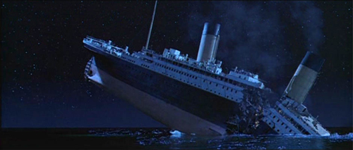 Titanic breaks in half